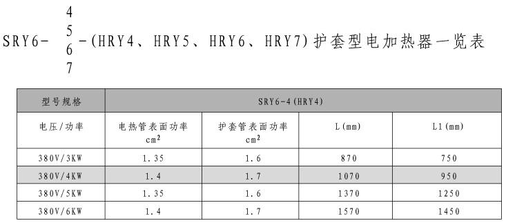 SRY6-4/SRY6-5/SRY6-6/SRY6-7护套式加热器